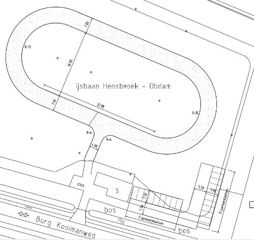 Afbeelding van de tekening van de skeelerbaan in Hensbroek
