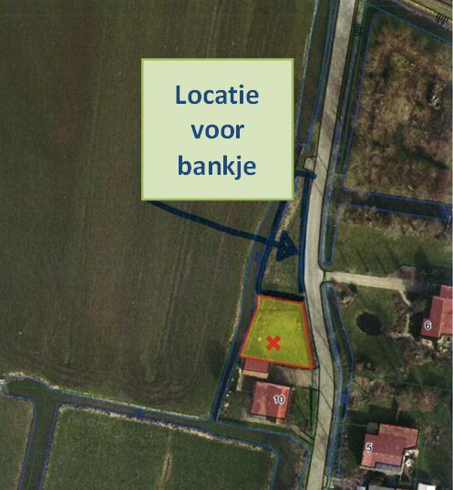 Afbeelding van de locatie voor het gewenste bankje aan de Grootweg, tegenover Grootweg 6, in Bobeldijk
