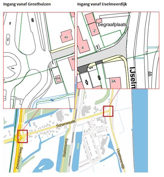 Afbeelding van de locaties van de inritten vanaf Grosthuizen/Zesstedenweg en de IJsselmeerdijk