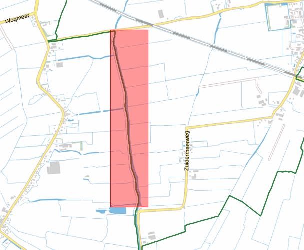 Afbeelding van de locatie van het wandelpad tussen de Zuidermeerweg en de Koggeweg in Zuidermeer